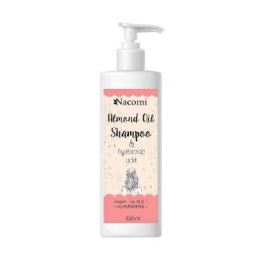 Șampon cu ulei de migdale, acid hialuronic și proteine de orez - Nacomi