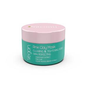 Mască cu argilă roz pentru față - curăță, reglează porii dilatați, ten perfect - Nacomi