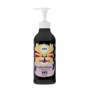 Gel natural de duș pentru copii, cu merișor și lavandă - YOPE